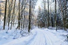 在多雪的小山的路 免版税图库摄影