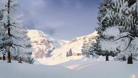 在多雪的山的一点客舱 免版税库存照片