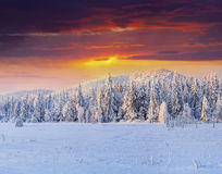 在多雪的山的剧烈的冬天日落 免版税库存图片