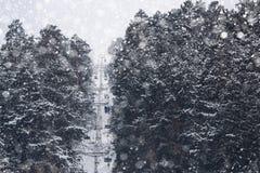 在多雪的山的起重器 免版税库存图片