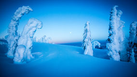 在多雪的山的满月 免版税库存图片