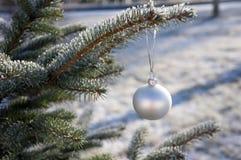 在多雪的树枝的白色圣诞节球 图库摄影