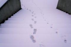 在多雪的楼梯的脚印刷品 库存照片