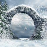 在多雪的横向的废墟 免版税库存照片