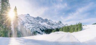 在多雪的高山装饰的冬天太阳 库存照片