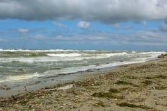 在多暴风雨的天气的波罗的海海滩与海挥动 免版税库存照片