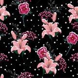 在夜在开花的百合的雪开花,在winte的莓果 向量例证