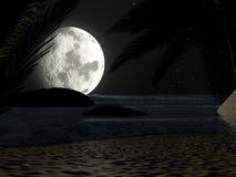 在夜月光的热带海滩,与棕榈树 库存图片