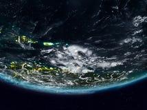 在夜期间,加勒比 免版税库存图片