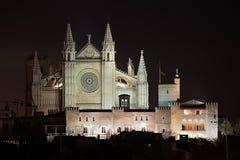 在夜照亮的帕尔马大教堂 免版税库存照片