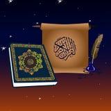 在夜空的古兰经书和纸卷与星和月 库存图片