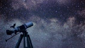 在夜空的天体望远镜星座天鹰座 Ea 免版税库存照片