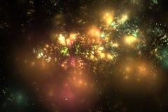 在夜空的抽象光亮的星云 库存图片