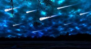 在夜空的流星雨 库存照片