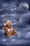 在夜空的玩具熊 免版税库存照片
