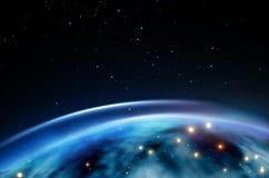 在夜空的背景的行星与星的 设计的美好的背景 皇族释放例证