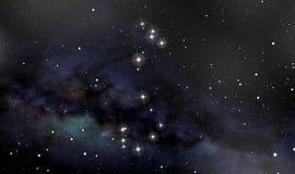 在夜空的蝎子星座 免版税库存图片