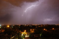 在夜空的闪电 图库摄影