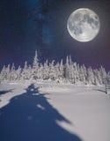 在夜空的满月在冬天山 免版税库存照片