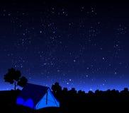 在夜空背景的帐篷  库存图片