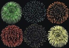 在夜背景设置的烟花,破裂烟花的周年 向量例证