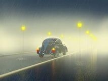 在夜街道上的减速火箭的汽车 免版税库存图片