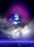 在夜间天空的飞碟 库存照片