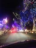 在夜间的俏丽的圣诞节llights 免版税图库摄影