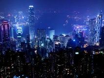 在夜间的香港都市风景 免版税库存照片