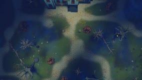 在夜鸟瞰图4K的可怕豪宅 皇族释放例证