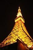 在夜间的东京铁塔 免版税图库摄影