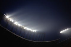 在夜间的体育场泛光灯,北京,中国 库存照片