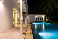 在夜间的游泳池 免版税库存照片