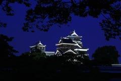 在夜间的熊本城堡 免版税库存照片