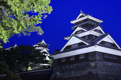 在夜间的熊本城堡 库存照片