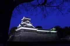 在夜间的熊本城堡 免版税库存图片