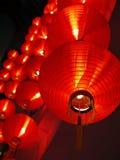 在夜间的红色中国灯 免版税库存图片