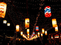在夜间的美好的光,曼谷,泰国 库存图片