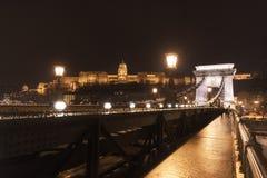 在夜间的Chainbridge与Buda城堡  库存照片