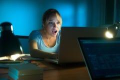 在夜间社会的网络的妇女观看的可怕的消息 免版税库存照片