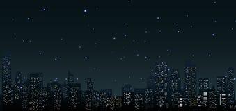在夜.urban场面的城市地平线 免版税库存照片