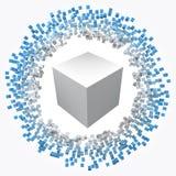 在大一个附近的小立方体 3d样式传染媒介例证 库存照片