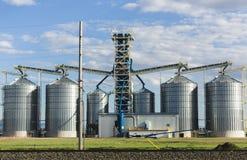 在大农场的金属筒仓 库存照片