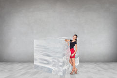 在大冰块附近的女商人 库存图片