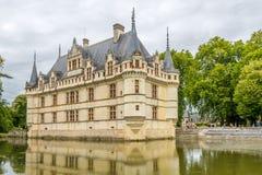 在大别墅Azay与护城河的le Rideau的看法 库存图片