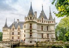在大别墅Azay le Rideau的看法 免版税库存照片