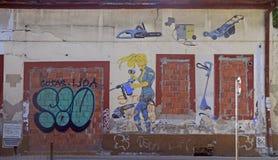在大厦墙壁上的街道画在诺维萨德,塞尔维亚 免版税库存图片