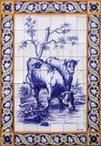在大厦外部的老蓝色azulejos图片 免版税图库摄影