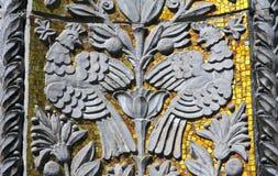 在大厦的墙壁上的装饰装饰品,莫斯科,俄罗斯 库存图片