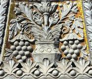 在大厦的墙壁上的装饰装饰品,莫斯科,俄罗斯 免版税库存图片